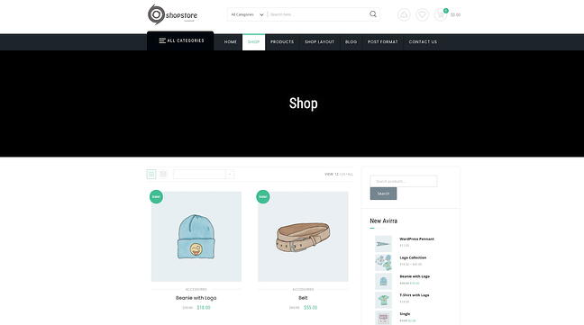 Shopstore drag-and-drop theme for Shopify - demo website in shop view