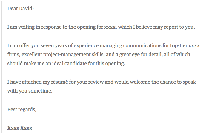 short and sweet cover letter example