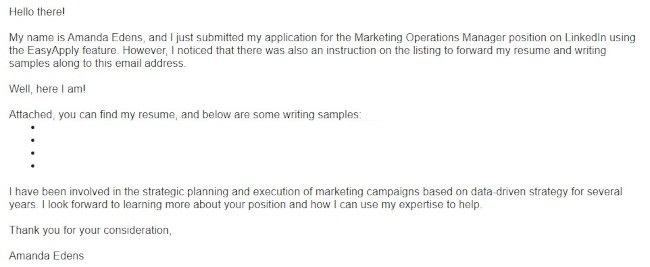 Example of a short cover letter from Amanda Edens with bullets and airy language