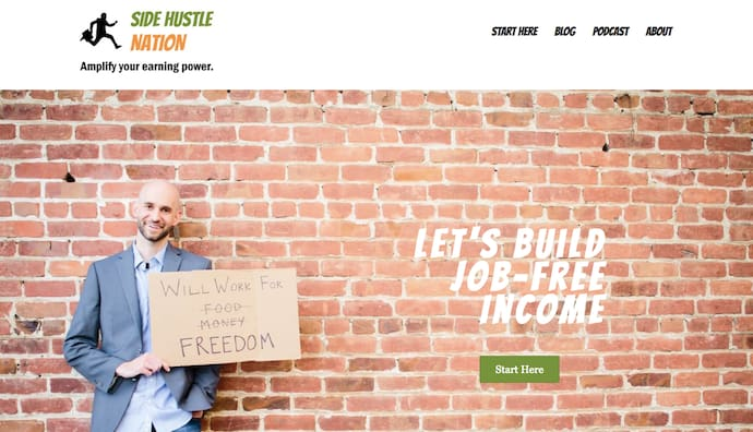 Homepage of Side Hustle Nation, the personal business blog of Nick Loper