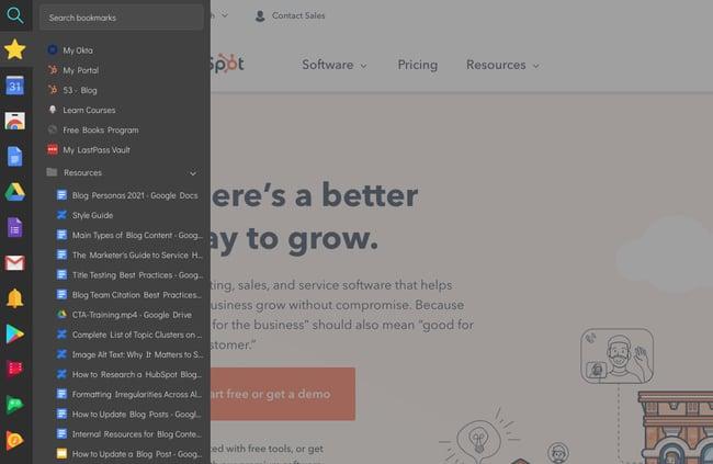 افزونه Chrome sidebar