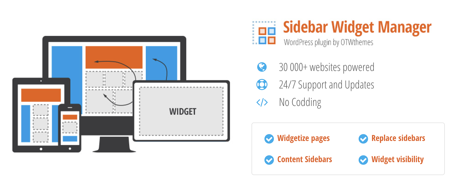 sidebar widget manager plugin to add widget to WordPress page