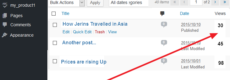 simple post views count plugin for WordPress post views