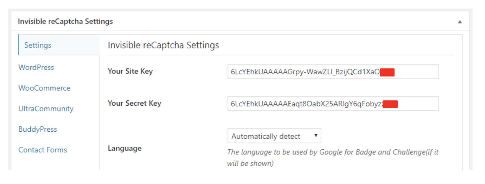 site keys to control spam integrating google invisible recaptcha wordpress site