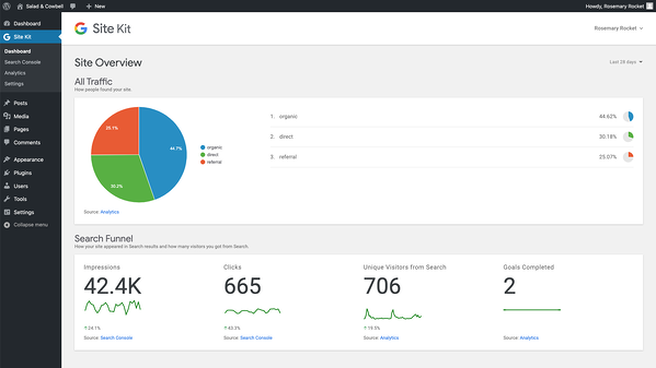 official google wordpress plugin admin panel overview demo