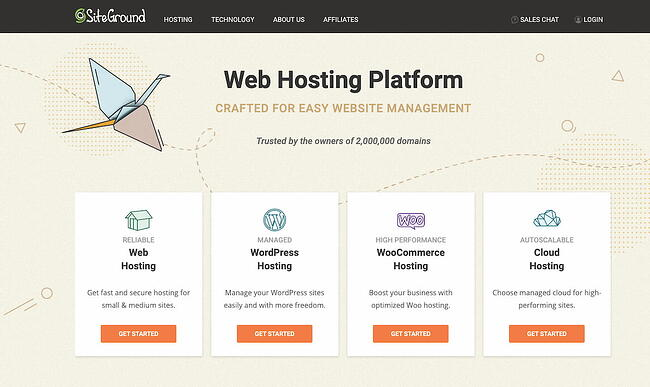 SiteGround web hosting home page