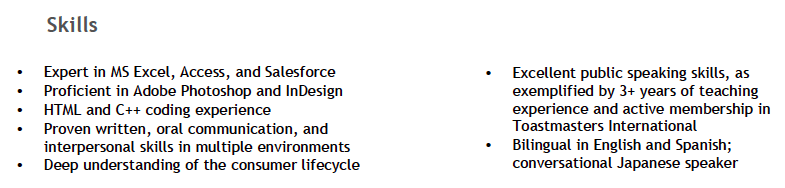 technical skills resume examples