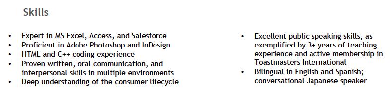 resume samples marketing
