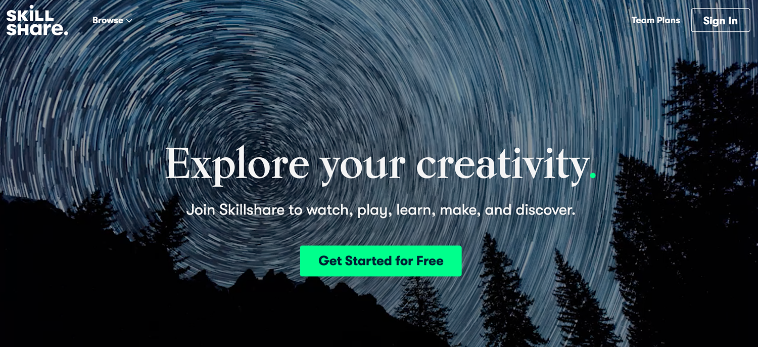 homepage for the membership website Skillshare