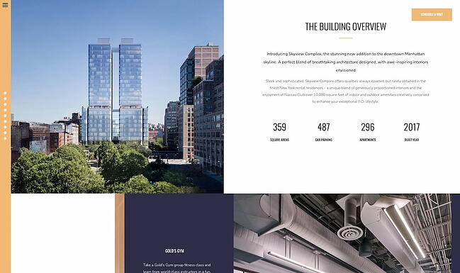 One-page WordPress theme demo for Skyview Complex
