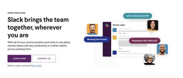Slack home page CTA.