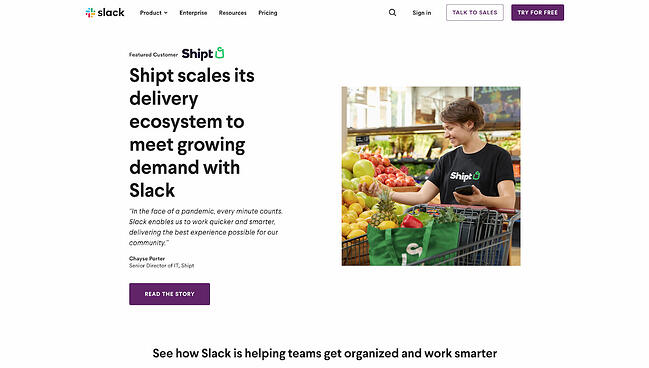Testimonial page example from Slack