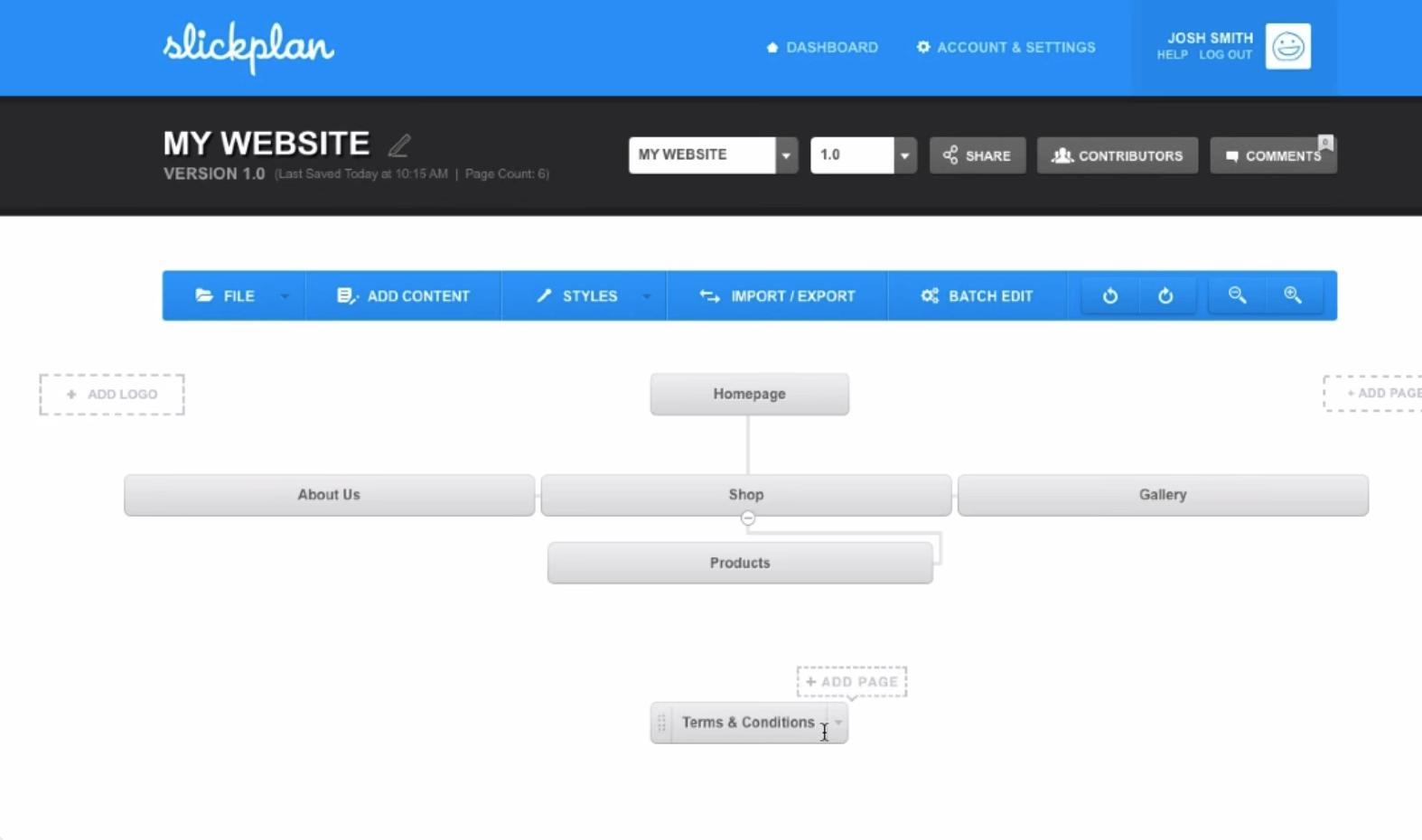 Slickplan sitemap generator