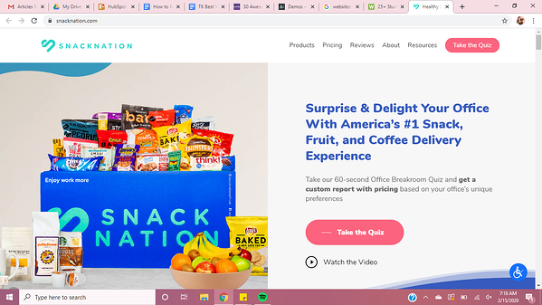 The Snack Nation website uses the Avada theme.