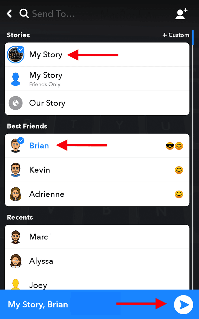 List of friends on Snapchat to send your snap to your friends