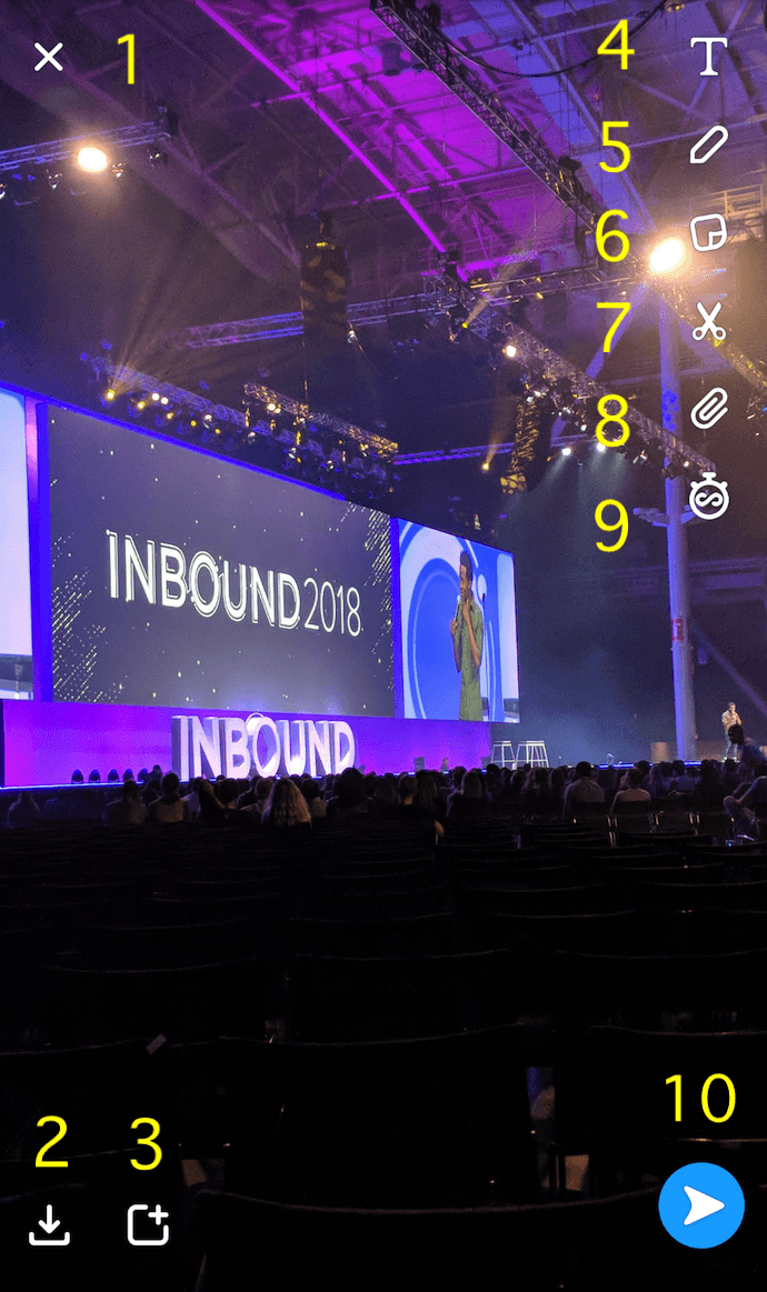 Snapchat picture from INBOUND 2018 with 10 options numbered in yellow