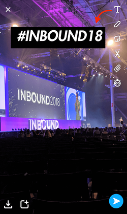 Snapchat text caption that says #INBOUND18