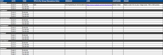 Social media calendar template for LinkedIn content