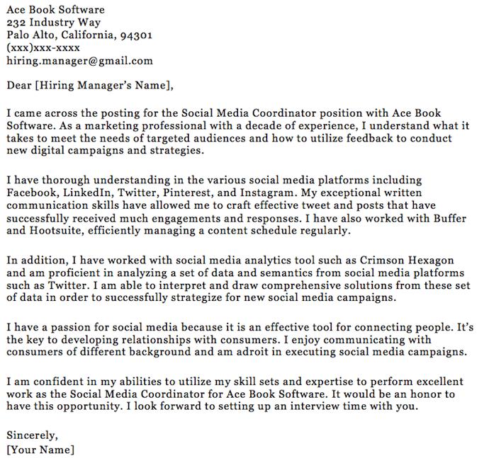 Social Media Cover Letter Template