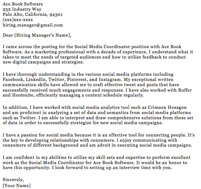 Marketing Graduate Cover Letter No Experience