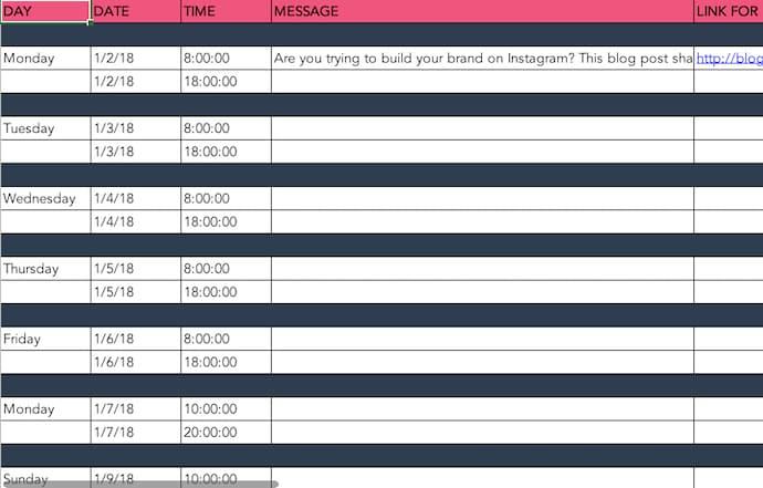 social-media-post-schedule-template