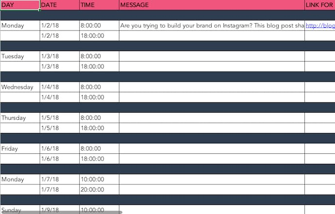 social-media-post-schedule-template