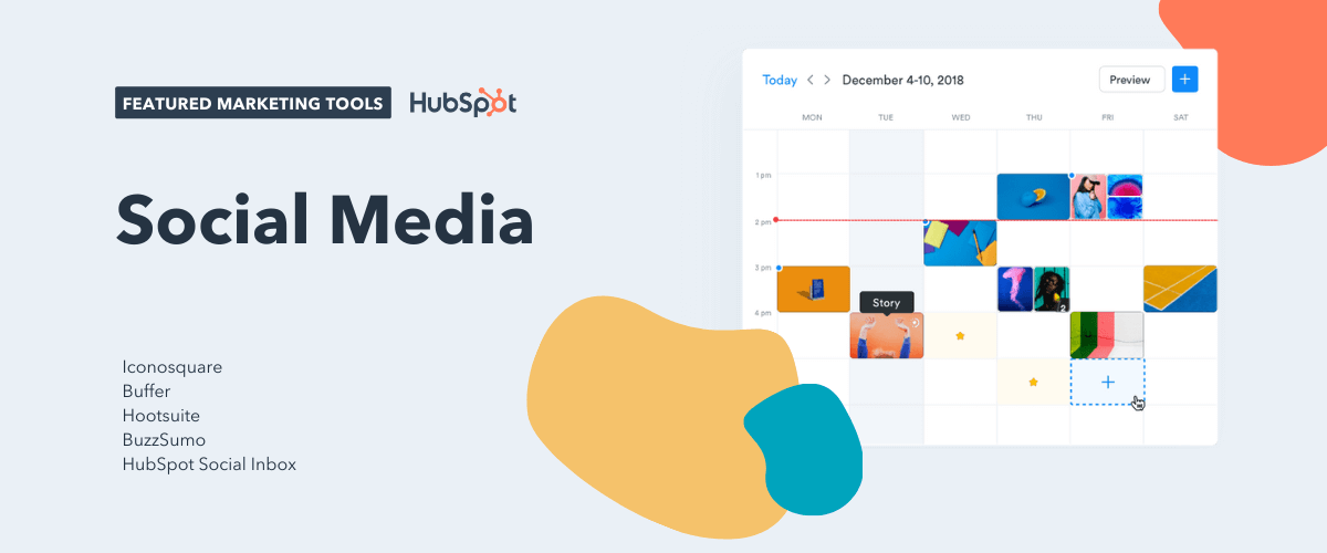 social media tools, including iconosquare, buffer, hootsuite, buzzsumo, and hubspot social inbox