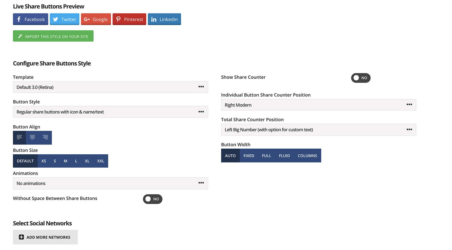 share button style builder in easy social share buttons plugin