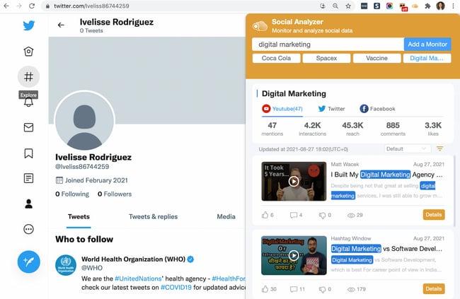 برنامه افزودنی Chrome SocialAnalyzer