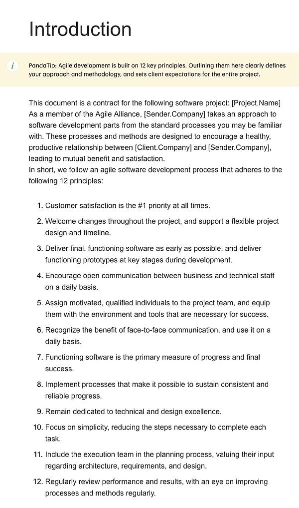 contract template for software developers