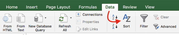 Data tab in Excel, with an arrow pointing to the Sort icon