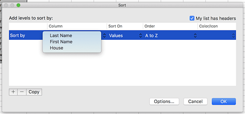 Sort settings window with a dropdown menu of options in the Column section