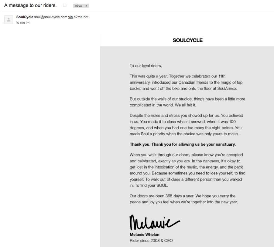 soulcycle thank you letter
