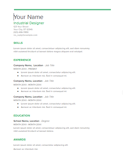 swiss this resume template