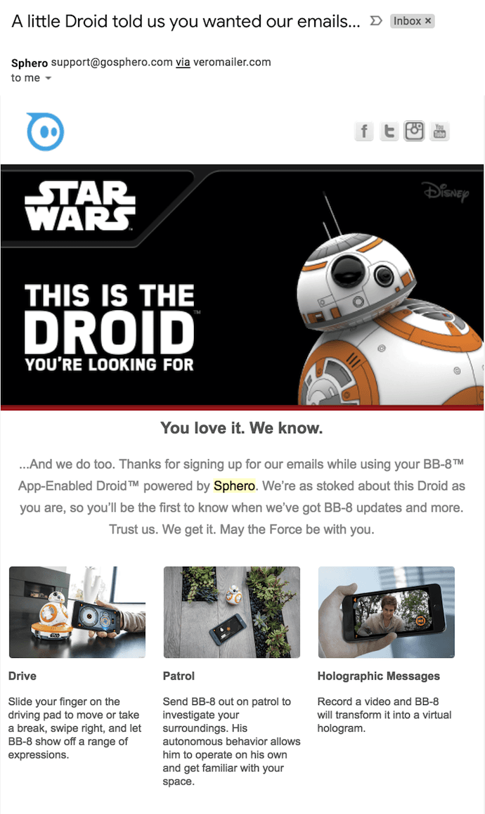 Sphero welcome email with BB-8 Star Wars Droid saying hello