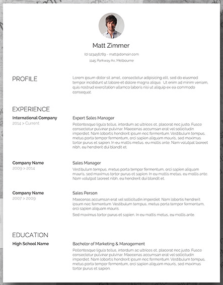 Spick and Span resume template with clean, bold typeface and professional headshot