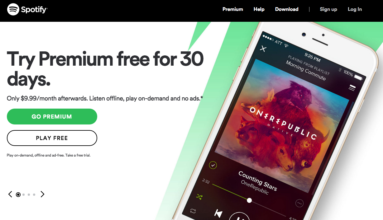 Spotify call to action buttons