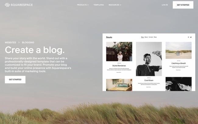 SquareSpace blog hosting site