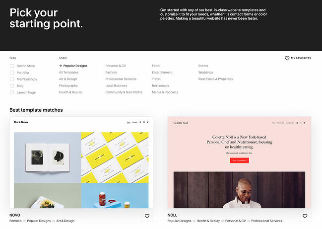 Squarespace website builder template library