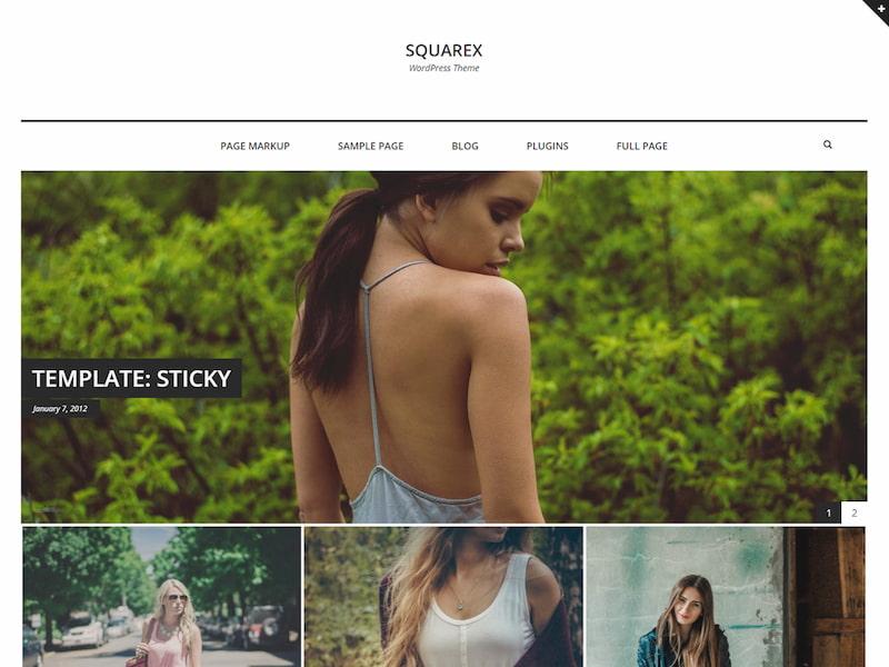 Squarex Lite WordPress theme demo shows minimalist fashion blog