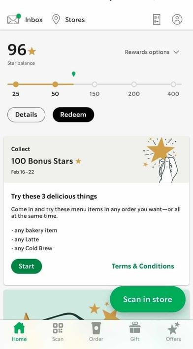 starbucks in-app loyalty points homepage example