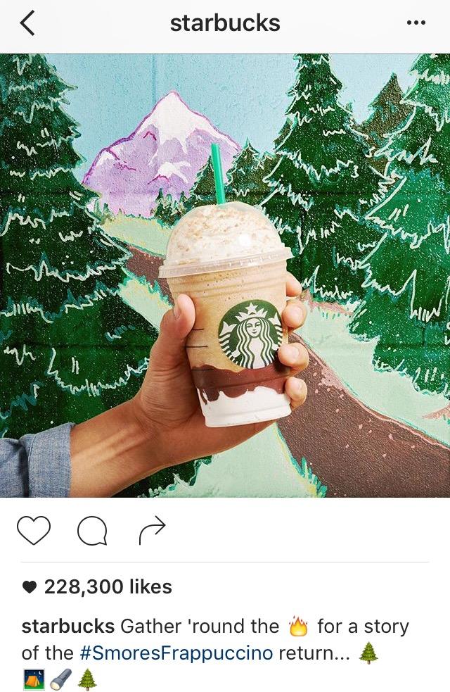 Instagram caption with emojis by Starbucks