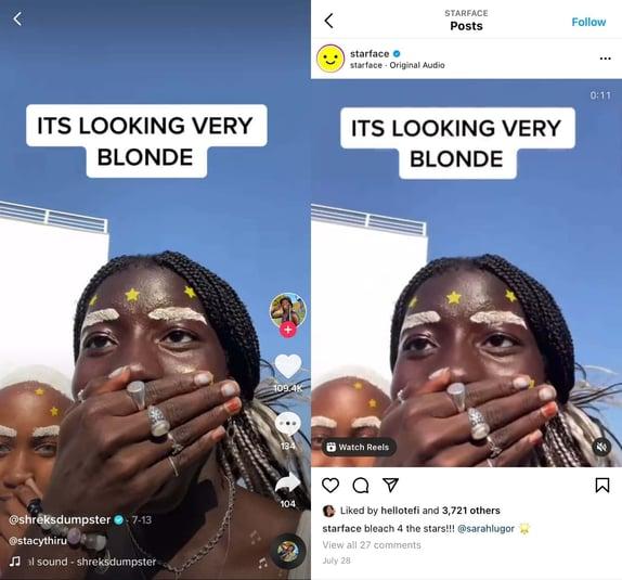 social listening strategy example: starface beauty brand