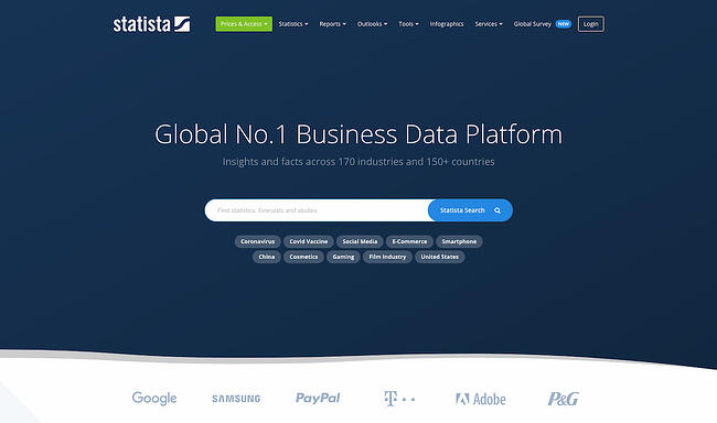 Statista data visualization platform and market research tool