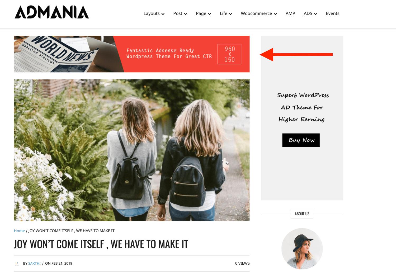 sticky ad in Admania theme increase ads revenue