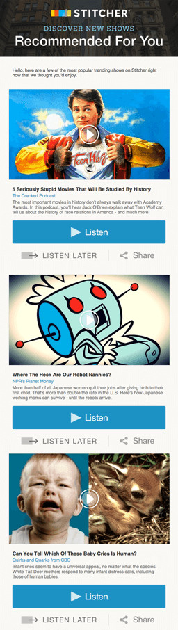 """Email Marketing Campaign Example: Stitcher - """"Recommended for you"""""""