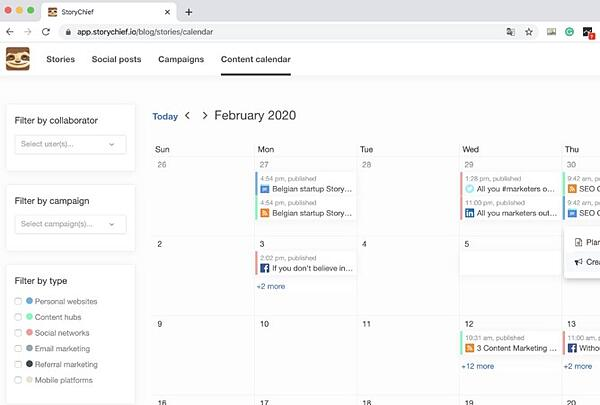 storychief smart calendar feature