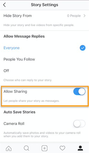 Allow Sharing option on Instagram