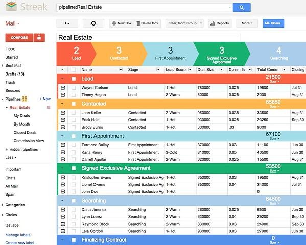 Streal real estate CRM inside Gmail