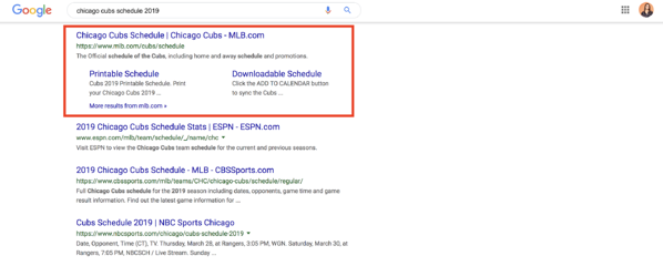 structured data sitelinks example chicago cubs